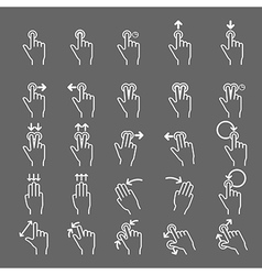 Touch Gestures line icons set vector image