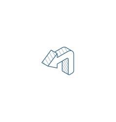 Turn left arrow isometric icon 3d line art vector