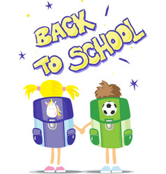 Two students go back to school vector