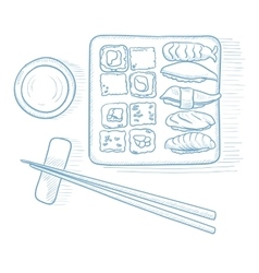 Various kinds of sushi vector