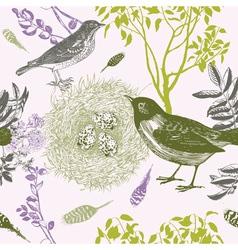 Vintage Bird Nest Pattern vector image