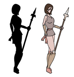 warrior woman shadow vector image