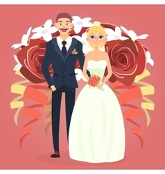Wedding couple with bouquet vector