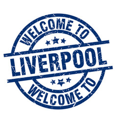 Welcome to liverpool blue stamp vector