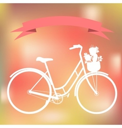 White bicycle on the colorful blured background vector