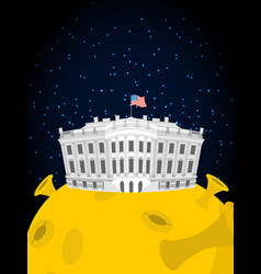 white house in moon us president residence in vector image