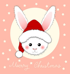 White rabbit santa claus on pink greeting card vector