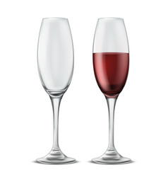 wine glasses empty and full of red wine vector image