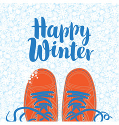 Winter banner with shoes on the snowy background vector