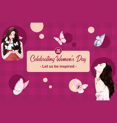 Woman day frame design with bubble butterfly vector