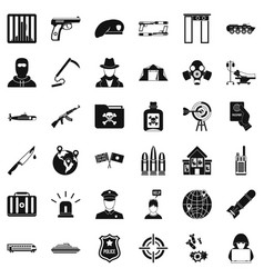 World antiterrorism icons set simple style vector