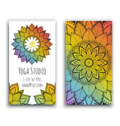 Yoga studio business card with mandala design vector