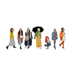 young women or girls dressed in trendy clothes vector image