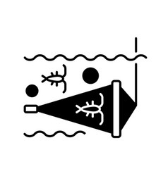 Zooplankton net black linear icon vector