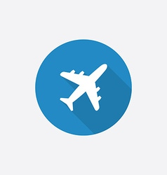 airplane Flat Blue Simple Icon with long shadow vector image vector image