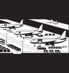 airplanes at cargo airport vector image