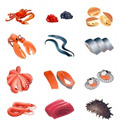calorie table fish and seafood vector image vector image