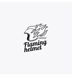 Flaming helmet mono color logotype vector