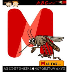 Letter m with mosquito cartoon vector
