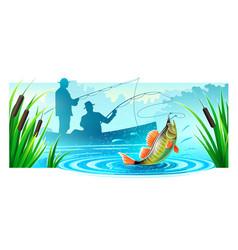 fishermen fishing in boat vector image