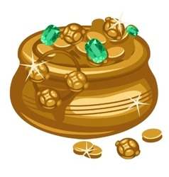 Golden pot with coins and emeralds vector image vector image