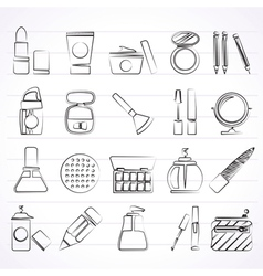 Make-up and cosmetics icons vector image