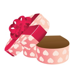 Opened empty heart shaped gift box vector image vector image