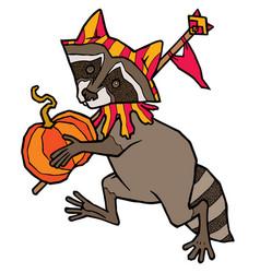raccoon in jester costume carries a pumpkin vector image vector image