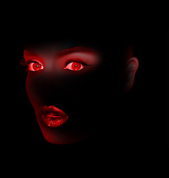 red woman eyes and lips on black vector image