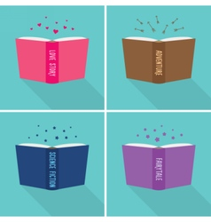 Set of fiction genre icons vector image vector image