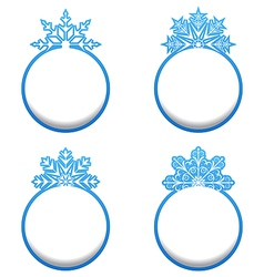 Set of variation label with snowflakes isolated vector image vector image