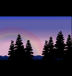 Silhouette of spruce and rainbow scenery vector
