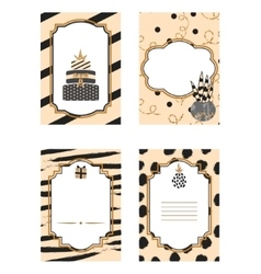 Birthday card black and beige template set Gold vector image vector image