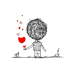Boy with red heart valentine card sketch for your vector image vector image