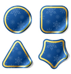 Christmas blue stickers vector image vector image