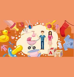 Family horizontal banner goods cartoon style vector