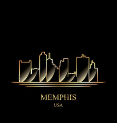 gold silhouette of memphis on black background vector image vector image