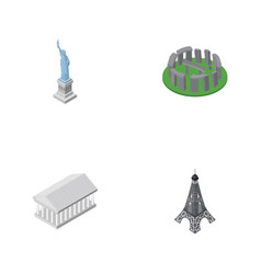 isometric cities set of paris new york athens vector image vector image
