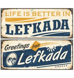 lefkada vintage tin sign vector image