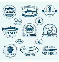 seafood retro emblems and labels set vector image
