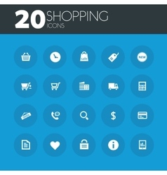 Shopping icons on round blue buttons vector image vector image