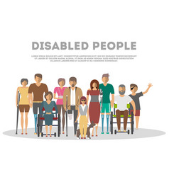 disabled people banner in flat style vector image