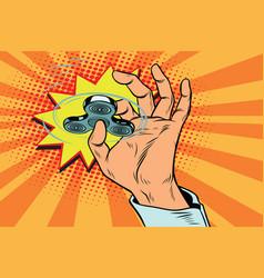 fidget spinner hand rotation vector image