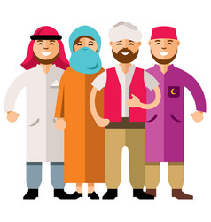 middle eastern group of people flat style vector image vector image
