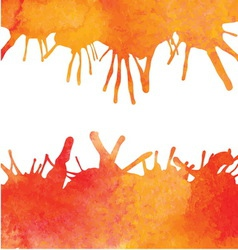 Orange watercolor paint background with blots vector image vector image