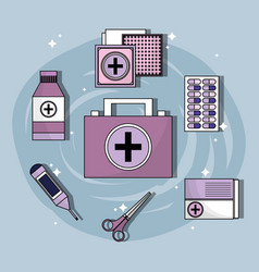 Set first aid kit with treatment tools vector