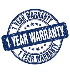 1 year warranty blue grunge round vintage rubber vector