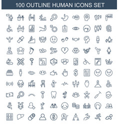 100 human icons vector