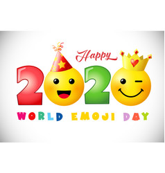 2020 happy emoji day 3d white bg vector