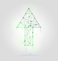 abstract arrow with wireframe structure vector image
